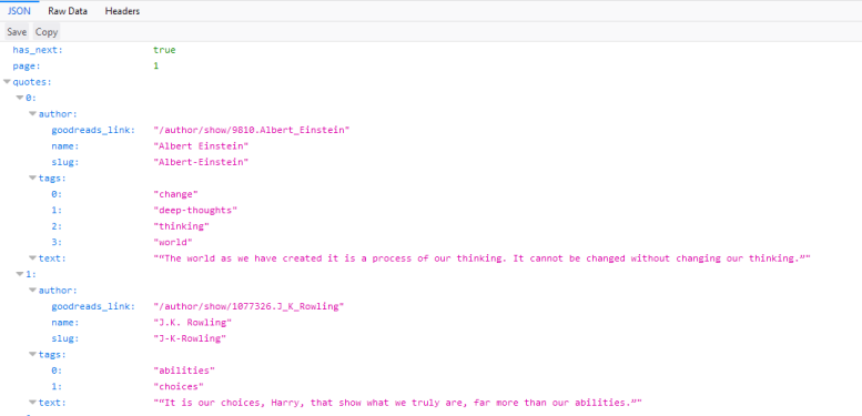 JSON-object returned from the quotes.toscrape API
