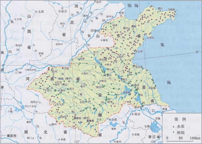 中国淮河流域水库的分布|在线地图